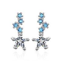 redes de pregos venda por atacado-ED614 Ear-prego feminino versão Coreana de moda pequeno fresco estrela azul Doce gril earnail zircon net vermelho