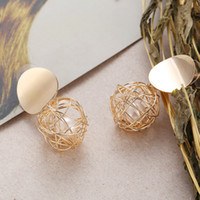 ingrosso gli stati della sfera-L'Europa e gli Stati Uniti nuovi orecchini semplici creativo creativo moda tessitura palla orecchini di perle donne gioielli all'ingrosso
