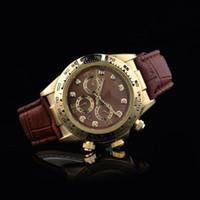 yeşil elbise saatleri toptan satış-2017 Üst Marka Kuvars Askeri İzle Lüks Erkekler Elbise Saatler Deri Saatı Moda Casual Saatler yeşil / kahverengi Deri