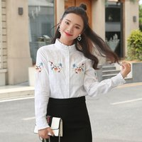 Wholesale ruffle plus size long sleeve blouse for sale - Group buy OL Embroidery Cotton Plus Size Shirt White Shirts Fashion Tops Ruffled Long Sleeve Blouse New Autumn Women Blouses S XL Z2025