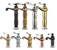faucet de lata de latão antigo de punho único venda por atacado-Alto Antique Brass / Chrome Mixer Bacia Torneiras Do Banheiro De Ouro Único Punho Único Buraco ColdHot Torneira de Água torneira