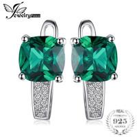 smaragdgrünes zubehör groihandel-Jewelrypalace Cushion 3.1ct Erstellt Green Emerald Clip On Ohrringe 925 Sterling Silber Edlen Schmuck Für Frauen Zubehör SH190715