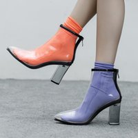 plus größe chunky fersen großhandel-New Fashion Transparente Stiefel Damen Pumps Sandalen Damen Schuhe Klar Chunky Heels Plus Size