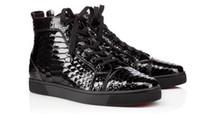 sapatas da faca venda por atacado-High Cut Leisure Lace Up Black Knife Cutting Snake Rivet Red Bottom Shoes For Men Sneakers Casual Leather Luxurious Designer Orlato Flat
