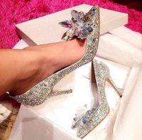 hochzeit blumen high heel großhandel-Womens Promi-Spitzenqualitäten Cinderella Crystal High Heels Braut Strass Hochzeit Schuh Sexy Spitz Crystal Flower Pump