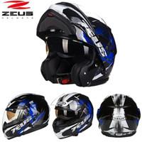 casco de carbono cara abierta al por mayor-2018 ZEUS Carbon Fiber Daul Visor Cascos de moto Undrape face Moto Racing Helmet Open face Four Seasons Safety Helmet