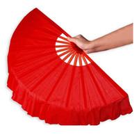 abanicos amarillos al por mayor-Rojo / rosa fuerte / amarillo / verde abanicos de mano abanicos regalo de artesanía baile Performce fan boda decoración de recuerdos decoración