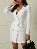 ingrosso cappotto di trincea-2019 Brand new Women Formal Slim Doppio petto Lungo Trench Outwear Dress Trench Overcoat