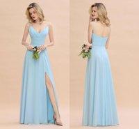 imagen de vestidos de novia azul cielo al por mayor-Cuadros reales Vestidos de dama de honor de gasa azul cielo Espagueti elegante Vestido de novia de una línea Vestido de fiesta formal de talla grande Vestido BM0784