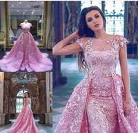 Wholesale crystal evening gowns for sale - Group buy Sheer Short Sleeves Lace Appliques Mermaid Evening Dresses Custom V Shape Back Ladies Prom Party Gowns Plus Size Special Occasion Party Gown