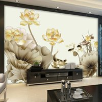 Wholesale large lotus mural resale online - beibehang Custom d wallpaper large scale modern hand painted ink lotus carp theme mural living room background wall paper mural