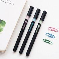 canetas pretas quentes venda por atacado-Legal caneta gel preto caneta caneta escola material de escritório presente promocional