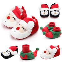 zapatos de bebé santa al por mayor-Zapatos de Navidad para bebés Zapatos de nieve cálidos para recién nacidos Zapatos de bebé con suela blanda Cuna Primeros caminantes Zapatos de pingüino de Santa Claus para niños pequeños RRA1872