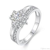 ingrosso anelli di fidanzamento imitazione anello bianco-Anelli romantici per le donne imitazione oro bianco intarsio analogico anello di diamanti bella sposa fidanzamento matrimonio anello gioielli amore