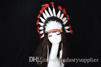 hint halloween kostümleri toptan satış-Şükran Headdress Cosplay Kostümleri hint Headdress cadılar bayramı Prop Tüy Headdress için yüksek kalite ayarlanabilir boyut 58 * 36 cm