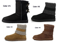 Wholesale womens ankle motorcycle boots for sale - Group buy 2019 new fashion womens ankle knee boots Classic Australia women winter boots beautiful chestnut black blue pink coffee designer snow boot