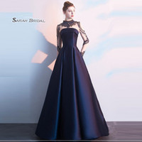 Wholesale long taffeta dress royal blue resale online - A line High neck Sweep Taffeta Beads Zipper Long Sleeves Ruched Prom Dresses Sexy Party Dress Hot Sales
