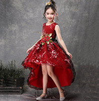 Wholesale fluffy pageant dresses resale online - 2019 Vintage Lace Rustic Red Green Flower Kids Dresses Fluffy Tulle Ball Gown Pageant Dress Wedding Evening