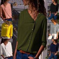 düğme sıcak toptan satış-Sıcak satış kadınlar bluzlar ilkbahar sonbahar moda şık bayanlar saf renk düğmesi Düzensiz Eğik yaka kadın t-shirt
