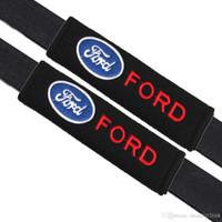 ford autositze großhandel-2pcs / set Universal Cotton Sicherheitsgurt Schulterpolster bedeckt Embleme für Ford Focus 2 3 Fiesta Kuga Mondeo Abzeichen Autozubehör Car-Styling