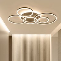 Wholesale painting color for living room resale online - Remote Controller Circle Rings Modern led Chandelier For living Room Bedroom Study Room White Brown Color Chandelier