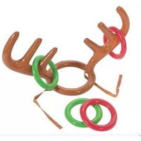 Wholesale outdoor kids toys for sale - Inflatable Deer Head Ring Kids Throwing Ring Toy Children Outdoor Leisure Sports Christmas Decoration Gifts LJJR247
