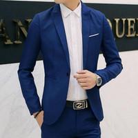 корейские повседневные блейзеры для мужчин оптовых-8 Colors Men Blazers  2018 Korean Style Men's Blazers and Jacket Slim Fit Solid Casual Suits Jacket