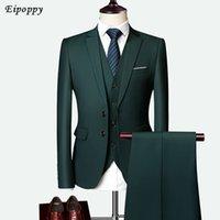 iki parça elbiseler erkek stilleri toptan satış-Erkek Giyim Erkek Takım Elbise erkek Takım Elbise Üç parçalı İki düğmeli İnce Düz Renk Damat Gelinlik İngiltere Stil On Renk