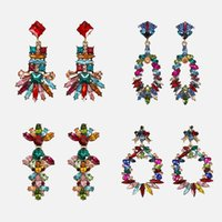 красочные серьги для женщин оптовых-Dvacaman Colorful Crystal Drop Earrings  Bridal Women Statement Rhinestone Jewelry Handmade Chic Dangle Earrings Wedding