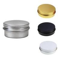 tarro de tapa negra al por mayor-1/2 oz Tarros de lata de aluminio Tapón de rosca Contenedor de latas de almacenamiento redondo Latas de metal cosméticas Contenedor vacío 15ml oro blanco negro