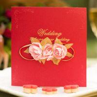 cartões de convites vermelhos venda por atacado-Red Pearlescent Paper Flor Falso Convites De Casamento Quadrado Comemoração Convite Simples Moda Portátil Cartão de Venda Quente 3 08xdD1