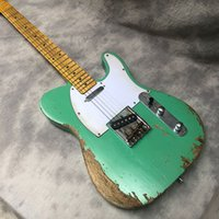 Wholesale guitar neck part resale online - High quality handmade cultural relic holy electric guitar green paint basswood body maple neck old guitar parts