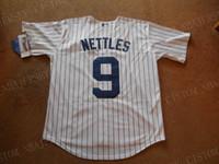 adam jones jersey cinza venda por atacado-barato costume Graig Nettles # 9 White Stripe Botão Baseball Jersey NOVO! número costurado Personalizar qualquer nome HOMENS MULHERES JOVENS Jerseys