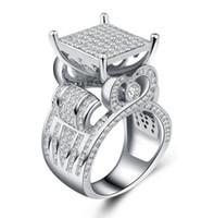 Plaqué or Rose Zircone cubique Amour Coeur femmes bijoux bague de mariage Taille 7-9