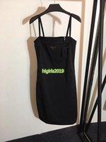 motiv kleider großhandel-High-End Frauen Mädchen schwarz Slip Kleid Metall Brief Logo Motiv ärmellose A-Linie Trompete Minirock benutzerdefinierte Mode-Design Luxus Kleider