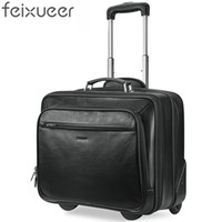 feixueer Designer Genuine Cow Leather Trolley Luggage Retro Suitcase Black  Carry-Ons Men Travel Aviation Bag 18 Inch Case 15097 8033f121e6dfd