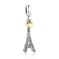 eiffel colares venda por atacado-PARIS EIFFEL TOWER Charme Pingente Coração De Ouro Contas Fit Pandora Pulseiras Colares