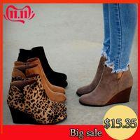 leopar pantolon toptan satış-Oeak Sivri Burun Botlar Kış Kadınlar Leopard Bilek Boots Lace Up Ayakkabı Platformu Yüksek Topuklar takozları Ayakkabı Kadın Bota Feminina