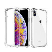 espalda de cristal de iphone al por mayor-Cubiertas de acrílico transparentes para teléfono Fundas antideslumbrantes resistentes TPU transparentes Protector a prueba de golpes Estuche rígido de cristal para iPhone X XR XS Max 8 Plus