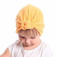 0b842de93b2 New Baby girl s Knot turban hat Stretchy Cloche Cap Turban Bowknot Infant  Cap Spring Autumn Kids Hats Beanie Accessories
