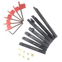 makine yerleştirme toptan satış-7 adet Karbür Uç Bıçakları + 7 adet Torna Torna Takım Torna Torna Torna Aracı için Tutucu Set + Anahtarı Setleri