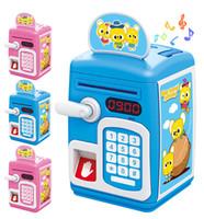 martillo de plástico para niños al por mayor-Nuevos niños creativos Juego de imaginación Regalo de dibujos animados Automático Roll Money Piggy Bank Gran ATM Huellas dactilares Contraseña Juguetes para niños