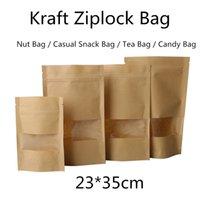 zip lock bolsa de papel marrom venda por atacado-10 pcs (23 * 35 cm) Marrom Sacos de Embalagem De Casamento Sacos de Embalagem De Casamento Saco de Embalagem de Alimentos Sacos de Compras Do Partido Do Pão para Boutique Zip Bloqueio