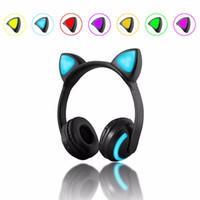 bluetooth kopfhörer stereo für laptop großhandel-Katze Ohr Drahtlose Bluetooth Kopfhörer Blinkende Leuchtende Kopfhörer Gaming Headset Kopfhörer 7 Farben LED-Licht für Laptop Erwachsene Kind