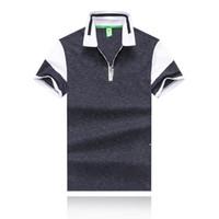 zíper colarinho t shirt venda por atacado-19SS Moda Verão Desgaste Dos Homens Desenhador T-shirt Dos Homens Desgaste Boutique Lapela De Algodão T-shirt Gola Zipper Design