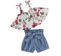 suspensórios 3t venda por atacado-Bebê Menina Crianças Conjuntos de Roupas de Verão Completo Flor Impressão Suspender Shirt + curto Conjuntos de roupas de Menina de Verão