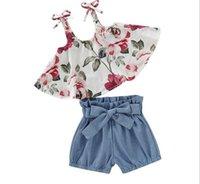 bebek şort jartiyer toptan satış-Bebek Kız Çocuk Yaz Giyim Setleri Tam Çiçek Baskı Askı Gömlek + kısa Yaz Kız giyim setleri