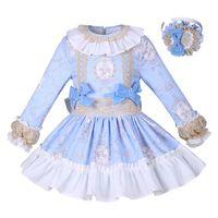 бутик платья для девочек оптовых-Pettigirl новый синий цветок девушки одеваются твердое платье принцессы с бабочкой бутик весна / осень дети дизайнер одежды G-DMGD008-A156