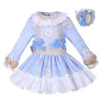 boutique kleider für mädchen großhandel-Pettigirl New Blue Flower Girls Dress Solide Prinzessin Kleid Mit Bowtie Boutique Frühling / Herbst Kinder Designer Kleidung G-DMGD008-A156