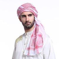 turbante negro al por mayor-Musulmán árabe Hijab hombres rojo negro blanco a cuadros sombrero cabeza cubierta de algodón abrigo turbante bufanda 140 * 140 cm hombres islámicos trajes tradicionales